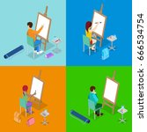 isometric art concept. class... | Shutterstock .eps vector #666534754