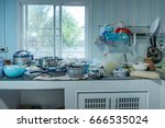 dirty kitchen  should be... | Shutterstock . vector #666535024