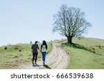 couple of lovers holding hands... | Shutterstock . vector #666539638