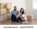 young multiethnic couple with... | Shutterstock . vector #666543049