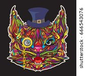 ornament gentleman cat face... | Shutterstock .eps vector #666543076