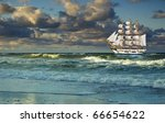 Sailing Ship On Background Of...