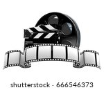 film reel with film strip... | Shutterstock . vector #666546373