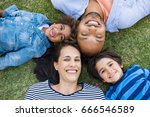 overhead view of cheerful... | Shutterstock . vector #666546589