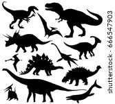 Dinosaur silhouettes set. Vector illustration isolated on white