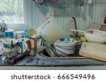 dirty kitchen  should be... | Shutterstock . vector #666549496