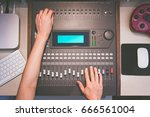 sound engineer hands working on ... | Shutterstock . vector #666561004