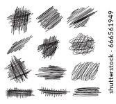 scribble brush strokes set ... | Shutterstock . vector #666561949