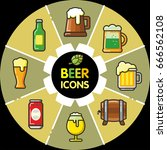 infographic set of beer icons... | Shutterstock .eps vector #666562108