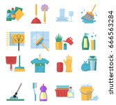vector symbols of cleaning... | Shutterstock .eps vector #666563284