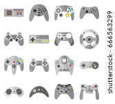 different game controllers.... | Shutterstock .eps vector #666563299