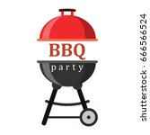 barbecue or grill party vector... | Shutterstock .eps vector #666566524