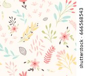 cute floral pattern with... | Shutterstock .eps vector #666568543