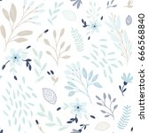 cute floral print with flowers... | Shutterstock .eps vector #666568840