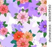 vector flowers watercolor...   Shutterstock .eps vector #666569560