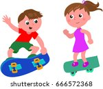 boy and girl on skateboard in... | Shutterstock .eps vector #666572368