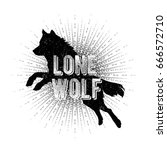 vintage hand drawn wolf label.  | Shutterstock .eps vector #666572710