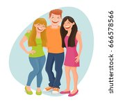 group of three friends standing ... | Shutterstock .eps vector #666578566