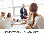 business people handshake... | Shutterstock . vector #666579094