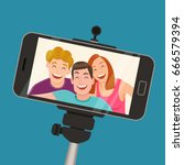 a selfie capture with a... | Shutterstock .eps vector #666579394