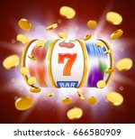 golden slot machine with flying ... | Shutterstock .eps vector #666580909