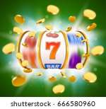 golden slot machine with flying ... | Shutterstock .eps vector #666580960