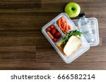 lunch box with vegetables and... | Shutterstock . vector #666582214