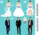 bride and groom. couple.... | Shutterstock .eps vector #666584404