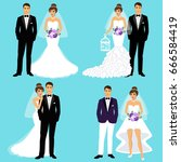 bride and groom. couple. set.... | Shutterstock .eps vector #666584419
