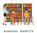 young people in the library... | Shutterstock .eps vector #666587176