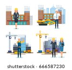 chief engineer and head of a... | Shutterstock .eps vector #666587230