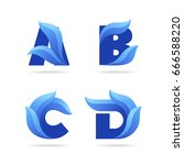 set of letters icons with blue... | Shutterstock .eps vector #666588220
