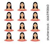 a vector set of woman's... | Shutterstock .eps vector #666590860