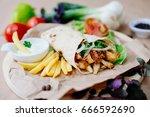 fast food. eastern food. shish... | Shutterstock . vector #666592690