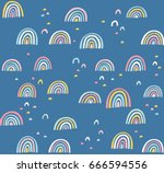 hand drawn cute abstract... | Shutterstock .eps vector #666594556