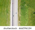 aerial drone view of country... | Shutterstock . vector #666596134