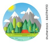 summer camp. landscape with red ... | Shutterstock .eps vector #666596950