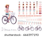 young woman cycling city bike ... | Shutterstock .eps vector #666597193