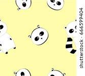raccoon pattern yellow... | Shutterstock .eps vector #666599404