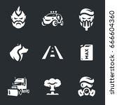 vector set of post apocalypse... | Shutterstock .eps vector #666604360