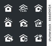 vector set of housing accident... | Shutterstock .eps vector #666604414