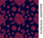 floral seamless pattern. doodle ... | Shutterstock .eps vector #666605548