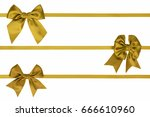 three gift satin bows on a... | Shutterstock . vector #666610960