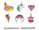flat vector wonder unicorns... | Shutterstock .eps vector #666613348