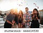 group of friends hanging out... | Shutterstock . vector #666614530