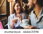 young attractive couple on date ... | Shutterstock . vector #666615598