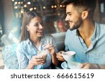 young attractive couple on date ... | Shutterstock . vector #666615619