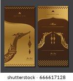 vector thai food restaurant... | Shutterstock .eps vector #666617128