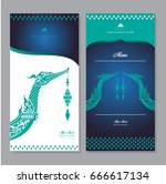 vector thai food restaurant... | Shutterstock .eps vector #666617134
