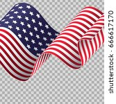waving american flag on... | Shutterstock .eps vector #666617170